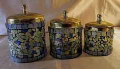 VINTAGE 3 PC LEADED MOSAIC STAINED GLASS JAR SET w/Brass Lids, Blue/Green/Gold #Unbranded #VintageRetro $29.99