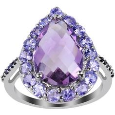 4 3/4 CT TW Amethyst and Tanzanite Sterling Silver Ring with Spinel Accents