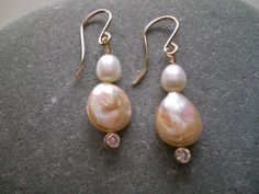 Pink Coin Pearl & White Freshwater Pearl Earrings by FMBdesigns, $60.00