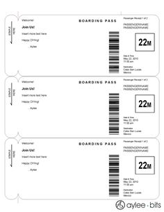 Boarding pass invitation template by AyleeBits.com