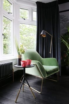 roberts's home in . See inside more inspiring homes on MADE.COM/Unboxed. Industrial Dining Chairs, Cotton Velvet, Improve Yourself, Accent Chairs, Black And Grey, Living Room, Pink Office, Interior, Homes
