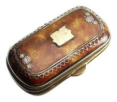 Tortoise Shell and Gold Pique French Needle Case -- CIRCA 1880