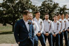 Groomsmen Attire Suspenders, Rustic Groomsmen Attire, Blue Groomsmen Suits, Rustic Wedding Attire, Groomsman Attire, Groomsmen Boutonniere, Groom Suits, Blue Suits, Boutonnieres