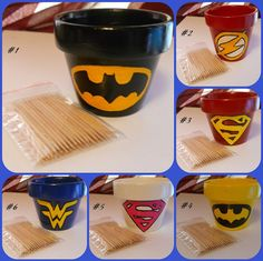 Clay Pot Superhero Inspired Toothpick Holders by SuperCrafters, $6.00