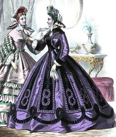 1863.  Le Moniteur de la mode. OH! yum! Think of this purple paired with a light teal...yum!