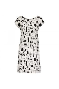#Numph #Womens White/Black All Over Print Short Sleeve Shift #Dress #pintucked