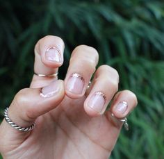 rose gold rimmed nails - reverse french manicure