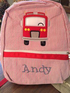 Seersucker Backpack Boys Firetruck by AuntieJsDesigns