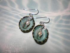Seashell Crafts   Del's Shells: Blue Limpet Seashell Earrings in Sterling Silver