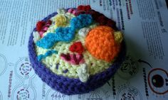 Crochet Cell Cross Section by AnOptimisticCynic on Etsy Crochet Geek, Crochet Cross, Learn To Crochet, Crochet Yarn, Science Crafts, Science Projects, Animal Cell, Cross Section, Stuffed Toys Patterns