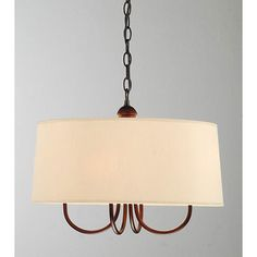 This modern four light chandelier adds character to any room it lights. The light hangs from 39.5 inches of chain, creating a unique look. This beautiful copper fixture holds four light bulbs covered by a lovely khaki shade so youll have lots of light.