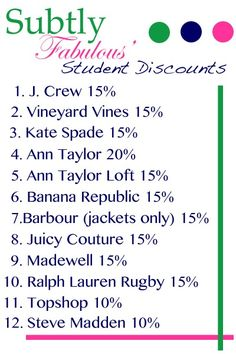 Amazing student discounts! Wow wish I knew some of these awhile ago!!!