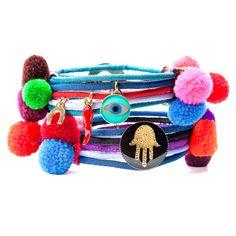 Dana Levy | Hamsa Hand Lucky Charm Pom Pom Bracelet