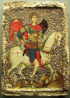 Mid 13c, Icon of St.George and the youth of Mytilene.