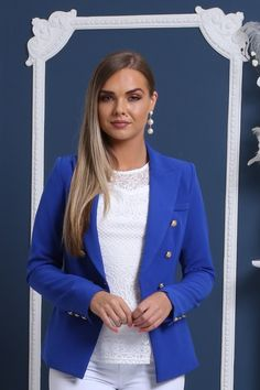 I just love this chic cobalt blue double breasted blazer. This versatile fashion jacket is easy to dress up for work attire or the office and dress down for a more casual street style look. It is a super cute clothing piece in my wardrobe that's a must have. Get this cute long sleeve blazer in the Virgo Boutique Store! Check out all their other gorgeous luxury women's apparel while you are there. #blazer #jacket #fashion #womensfashion #outfitideas Work Attire, Work Outfits, Casual Outfits, Fashion Glamour, Luxury Fashion, Womens Fashion, Casual Street Style, Street Style Looks, Smart Casual Blazer