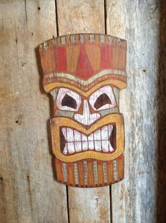 Rustic tiki mask sign by TheRusticRenegade on Etsy, $64.00