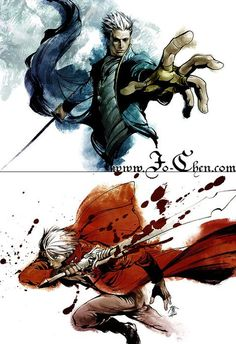 Devil May Cry - Dante and Vergil by ~Jo-Chen on deviantART Vergil Dmc, Character Art, Character Design, Dante Devil May Cry, Fanart, Art Anime, Batman Vs Superman, Comic Games, Video Game Characters