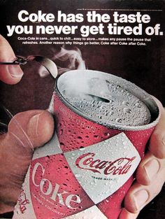 1967 Coca Cola original vintage advertisement. View of the easy open flat top can. Quick to chill... easy to store.