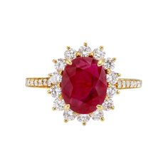 Estate Tiffany & Co. 1.95 Carat Ruby & Diamond Cluster Ring - betteridge