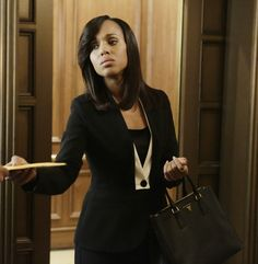 """Escada"" Belmira Black Blazer with ivory contrast insert lapel - worn by Olivia Pope (Kerry Washington) on Scandal, season 4."