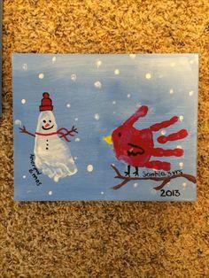 Snowman footprint and cardinal handprint grandparent Christmas gift