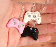 Xbox controllers necklaces* for three BFFs, miniature necklaces made of polymer clay. Give it to your best friends or keep all for yourself! It all made
