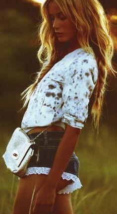Lace Hem denim Short by Fashion Crack