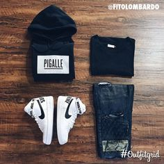 Today's top #outfitgrid is by @fitolombardo. ▫️#Pigalle #Hoodie ▫️#Machus #Tee…