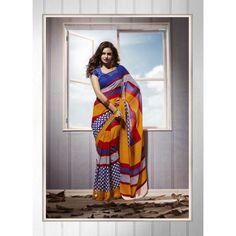 Gerogette & Jacquard Beautiful Indian Printed Saree  Patang 16018