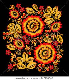 Popular Folk Embroidery Folk Khokhloma painting from Russia. A floral pattern in black, red and golden colours. Design Textile, Design Floral, Motif Floral, Textile Patterns, Flower Patterns, Boho Pattern, Pattern Art, Folk Art Flowers, Flower Art
