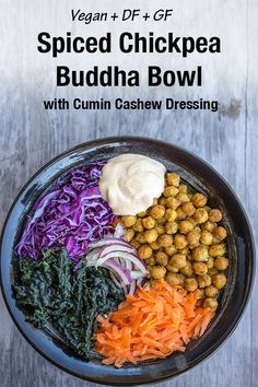 Sometimes you just need a bowl of goodness and this chickpea buddha bowl is just that! It is chock full of fresh veggies that go perfectly with the spicy chickpeas all topped off beautifully by a creamy cumin cashew dressing. This buddha bowl is gluten-free and Vegan. #buddhabowl #vegan #chickpeas Healthy Salad Recipes, Vegan Recipes Easy, Lunch Recipes, Real Food Recipes, Healthy Snacks, Vegetarian Recipes, Dinner Recipes, Veggie Recipes, Delicious Recipes