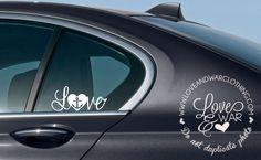 Love cursive Navy Decal - LOVEANDWARCLOTHING