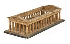 An Italian Grand Tour cork model of the Temple of Poseidon at Paestum, 19th century