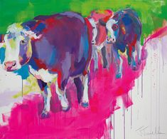 """Cow Art - Kuh Kunst """"Friends on the road"""" Acrylic on canvas, 120x100 cm"""