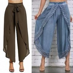 Pareo for pants with rounded front – Free patterns Sewing Clothes Women, Sewing Pants, Clothes For Women, Wrap Over Dress, Myanmar Dress Design, Wrap Pants, Jacket Pattern, Dress Sewing Patterns, Couture