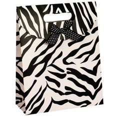 Zebra Print Tab Top Favor Box Bags 12 by BeFestive on Etsy