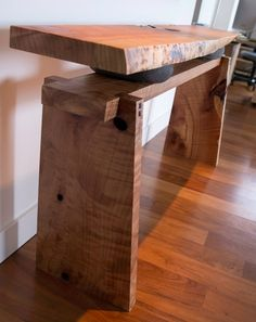 """Figured Sequoia Entry Table Working in collaboration with one of our favorite clients, UTW created this beautiful entry table blending elements of wood and stone seamlessly. Constructed of figured sequoia slabs salvaged from 52nd and Belmont, and stones from the Molalla river, this piece is the true definition of """"keeping it local"""". Please allow 6-8 weeks lead time. Built to order: $2200 #sustainabledesign #woodworking #interiordesign #table #contemporary"""