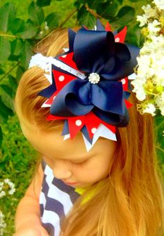 Fourth of July hair bow for girls Headband Girls Hair Bow Red White and Blue Boutique Hair Bow Childrens hair bows