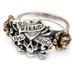 "Ed Hardy ""Love Kills Slowly"" Bronze Ring with Onyx and Ruby - Skull Clothing & Gifts Bronze Jewelry, Bronze Ring, Skull Jewelry, Hippie Jewelry, Gothic Jewelry, Jewelry Rings, Jewelery, Fine Jewelry, Women Jewelry"