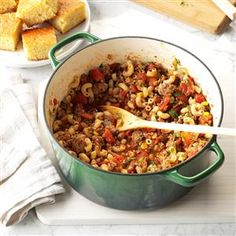 Southwestern Goulash Recipe -I had some extra cilantro in the fridge and didn't want to throw it away. Instead, I came up with this delightful and filling family recipe. Everyone just loved it! —Vikki Rebholz, West Chester, Ohio