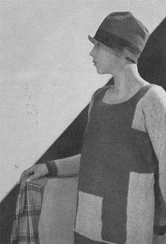 *  Schiaparelli Sweater 1927 Vogue (Paris) February 1927 Le Sweater de Laine Tricotée on Renouvelle sa Décoration La disposition originale des rectangles blancs, se détachant sur le fond brun fait tout le chic de ce chandail, spécialement dessiné pour le sport. Photo Hoyningen-Huene