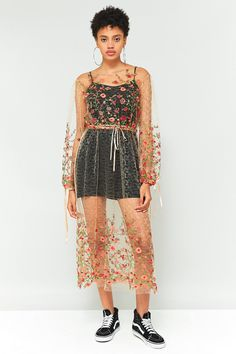 Slide View: 2: Pins & Needles Floral Embroidered Mesh Midi Dress