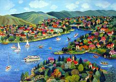 Holiday Lake by Veronica Labat - GINA Gallery of International Naive Art