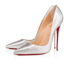 """So Kate"" is a Christian Louboutin signature style known for its pointed toe and superfine stiletto heel. At 120mm, this single-sole pump in silver embossed dino laminato leather is the secret to a glowing ensemble."