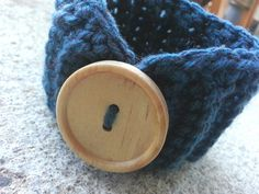 Handmade Crocheted Big Button Cuff Bracelet in by knotyourgrandma, $7.00 My Etsy Shop, Buttons, Bracelet, Big, Handmade, Bangle, Hand Made, Armband, Craft