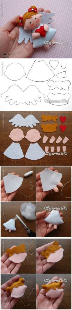 Moldes de Anjinhos em feltro - Ver e Fazer You are in the right place about Diy Felt Ornaments simpl Angel Crafts, Christmas Projects, Felt Crafts, Holiday Crafts, Felt Christmas Decorations, Felt Christmas Ornaments, Christmas Fun, Tree Decorations, Angel Ornaments
