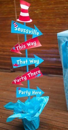 Dr. Seuss Themed Birthday Party Ideas ~ super fun & creative ideas including this cute directional arrow sign