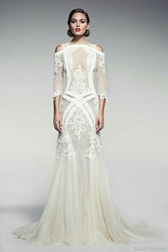 Pallas Couture Long Sleeves Wedding Dresses Mermaid Straps Off The Shoulder Appliqued Lace Wedding Dress Tulle Sheer Backless Bridal Gowns Pallas Couture, Beautiful Gowns, Beautiful Outfits, Bridal Gowns, Wedding Gowns, Lace Weddings, Wedding Ceremonies, Bridal Headpieces, Wedding Hair