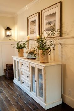 Touch of rustic. Old dresser, keep middle drawers but change out outer two sections