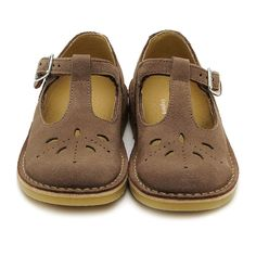 Lottie III (taupe suede) A girls traditional stitch down buckle shoe with leather linings.